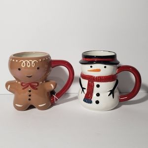 Target Threshold Gingerbread Man & Snowman Mugs